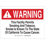 Brady B-401 Polystyrene Rectangle White Smoking Area Sign - 14 in Width x 10 in Height - 18165