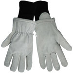 Global Glove 2800F Gray/White Large Split Cowhide Leather Cold Condition Gloves - Cold Keep Insulation - 2800F/LG