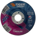 Weiler Tiger Ceramic Grinding Wheel - 24 Grit - 4 1/2 in Diameter - 7/8 in Center Hole - 1/4 in Thick - 58325