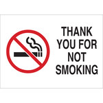 Brady B-302 Polyester Rectangle White No Smoking Sign - 10 in Width x 7 in Height - Laminated - 72343