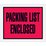 Red Packing List Enclosed Full Face Envelopes - 4.5 in x 5.5 in - 2 Mil Poly Thick - SHP-8200