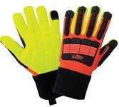 Global Glove Vise Gripster SG9954 HV Orange Large Cotton Work Gloves - SG9954-9(L)
