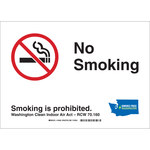Brady B-302 Polyester Rectangle Green No Smoking Sign - 14 in Width x 10 in Height - Laminated - 104952