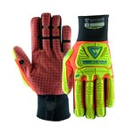 West Chester R2 Safety RigRunner 87000 Red/Yellow 3XL Synthetic Leather Work Gloves - PVC Dotted Palm Coating - 87000/3XL