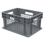 Akro-Mils 5.12 gal Gray Industrial Grade Polymer Straight Wall Container - 15 3/4 in Length - 11 3/4 in Width - 8 1/4 in Height - Mesh Side Wall - 83 lb 30 lb Stacked Capacity - 37278 GREY