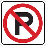 Brady B-555 Aluminum Square White Parking Restriction, Permission & Information Sign - 18 in Width x 18 in Height - 124575