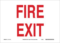 Brady B-563 High Density Polypropylene Rectangle White Fire Exit Sign - 10 in Width x 7 in Height - 116082