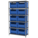 Akro-Mils AS1879 3300 lb Gray Steel 22 ga Fixed Rack - 42 in Overall Length - 12 Bins - Bins Included - AS187913017