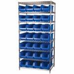 Akro-Mils Akrobin 2000 lb Adjustable Blue Chrome Steel Open Adjustable Fixed Shelving System - 18 Bins - 2000 lb Total Capacity - AWS184830281 BLUE