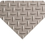 Wearwell 712 Gray PVC Diamond-Plate Non-Conductive Switchboard Matting - 3 ft Width - 75 ft Length - 715411-60081