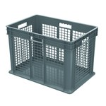Akro-Mils 11.07 gal Gray Industrial Grade Polymer Straight Wall Container - 23 3/4 in Length - 15 3/4 in Width - 16 1/8 in Height - Mesh Side Wall - 150 lb 45 lb Stacked Capacity - 37676 GREY