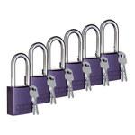 Brady Purple Aluminum 6-pin Keyed & Safety Padlock 104573 - 1 1/2 in Width - 1 3/5 in Height - 1/4 in Shackle Diameter - 2 Key(s) Included - 754476-03277