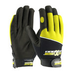 PIP Maximum Safety 120-MX2820 Black/Yellow Large Cotton/Polyester/Spandex/Synthetic Leather Mechanic's Gloves - 120-MX2820/L