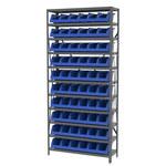 Akro-Mils Blue Gray Steel 22 ga System Bin Shelving System - 10 Bins - AS1279312 BLUE