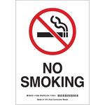 Brady B-558 Recycled Film Rectangle White No Smoking Sign - 10 in Width x 14 in Height - 118147