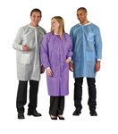 Ansell 67-150 White Large SMS Disposable General Purpose Lab Coat - 3 Pockets - 683438-57353