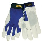 Tillman TrueFit 1485 Blue/Pearl Large Grain Pigskin Leather/Spandex Work Gloves - Leather Palm Coating - 9 in Length - Smooth Finish - 1485L
