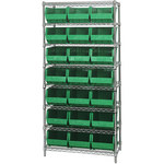Green Shelves With Bins - 36 in x 18 in x 74 in - SHP-3165