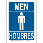 Brady B-555 Aluminum Rectangle Restroom Sign - 7 in Width x 10 in Height - Language English / Spanish - 125535