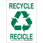 Brady B-555 Aluminum Rectangle White Recycle Sign - 7 in Width x 10 in Height - Language English / Spanish - 125523