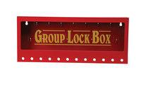 Brady Yellow on Red Steel Combined Lock Storage & Group Lock Box 105715 - 16 in Width - 7 in Height - 12 Padlock Capacity - 754476-03772