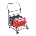 Contec Slinger 5 gal Gray, Red Downpress Wringer Cart With Bucket - 2757
