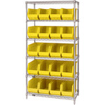 Yellow Shelves With Bins - 36 in x 18 in x 74 in - SHP-3175