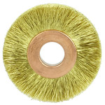 Weiler Brass Wheel Brush 0.005 in Bristle Diameter - Arbor Attachment - 1 1/2 in Outside Diameter - 3/8 in Center Hole Size - 29178