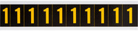 Brady 7890-1 Yellow on Black Vinyl Number Label - Indoor / Outdoor - 7/8 in Width - 1 1/2 in Height - 1 in Character Height - B-946