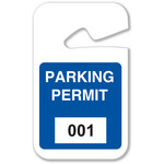 Brady Blue Vinyl Pre-Printed Vehicle Hang Tag 95201 - Printed Text = PARKING PERMIT - 2 3/4 in Width - 4 3/4 in Height - 754476-95201