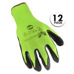 Valeo V820 Green/Black Large Nylon Work Gloves - Nitrile Palm & Fingers Coating - VI9585LG