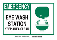 Brady B-302 Polyester Rectangle White Eyewash Sign - 5 in Width x 3.5 in Height - Laminated - 83935