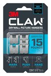 3M CLAW Stainless Steel Drywall Picture Hanger - 0.9 in Length x 0.9 in Width 15 lb Weight Capacity - 66155