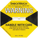 Shipping Supply Yellow 25G Shock Watch Indicators - 1.8 in x 1.1 in x.2 in - SHP-8357