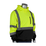 PIP Black/Lime Yellow Large Polyester Fleece Cold Weather Sweatshirt - 3 Pockets - Attached Hood - 616314-18551