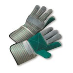 West Chester 800DP-A Green/Pink Large Split Cowhide Leather Work Gloves - Wing Thumb - 12 in Length