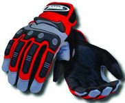Ansell Projex 97-975 Red/Black/Gray Large Spandex Mechanic's Gloves - 97-975 LG