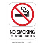 Brady B-555 Aluminum Rectangle White No Smoking Sign - 7 in Width x 10 in Height - 123891