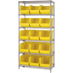 Yellow Shelves With Bins - 36 in x 18 in x 74 in - SHP-3171