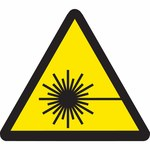 Brady 60198 Black on Yellow Triangle Vinyl Laser Hazard Label - 1 in Width - 1 in Height - B-946