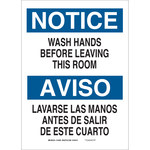 Brady B-555 Aluminum Rectangle White Personal Hygiene Sign - 10 in Width x 7 in Height - Language English / Spanish - 122403
