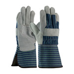 PIP 82-7663 Blue/Gray/Green Large Split Cowhide Leather Work Gloves - Wing Thumb - 12.3 in Length - 82-7663/L