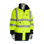 PIP 343-1756 Hi-Vis Lime Yellow/Black Large Polyester Cold Condition Coat, Jacket, Vest - 11 Pockets - Rollaway Hood - Fits 55.5 in Chest - Polyester Insulation - 35 in Length