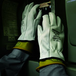 Ansell Marigold Insustrial Gray 9 Goatskin Leather Mechanic's Gloves - M60604