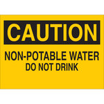 Brady B-555 Aluminum Rectangle Yellow Water Sanitation Sign - 10 in Width x 7 in Height - 40846