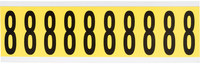 Brady 34 Series 3440-8 Black on Yellow Vinyl Cloth Number Label - Indoor - 7/8 in Width - 2 1/4 in Height - 1 15/16 in Character Height - B-498