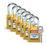 Brady Yellow Nylon Steel 6-pin Keyed & Safety Padlock 51346 - 1 1/2 in Width - 1 3/4 in Height - 1/4 in Shackle Diameter - 1 Key(s) Included - 754476-51346