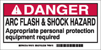 Brady 101518 Black / Red on White Rectangle Polyester Arc Flash Label - 4 in Width - 2 in Height - B-302