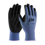 PIP G-Tek GP 34-500 Blue/Black XX-Small Nylon Work Gloves - Nitrile Palm & Fingertips Coating - 8.7 in Length - 34-500/XXS