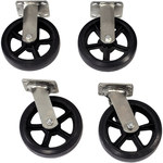Caster Set - 2 in x 8 in - Moldon Rubber on Cast Iron Hub